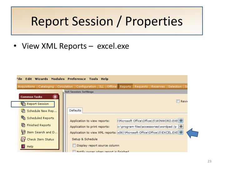 Report Session / Properties