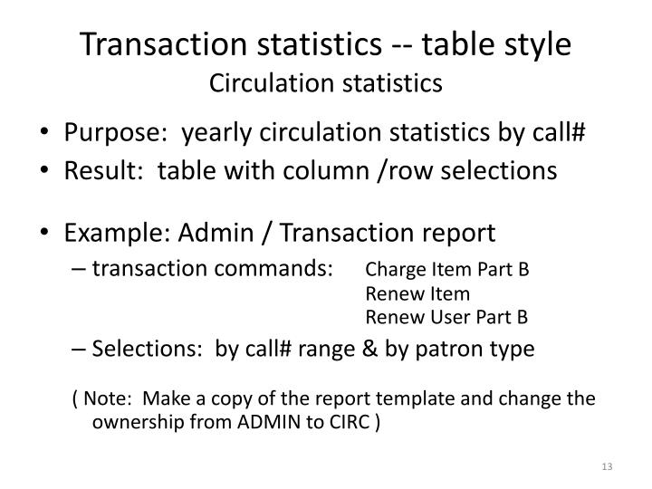 Transaction statistics -- table style