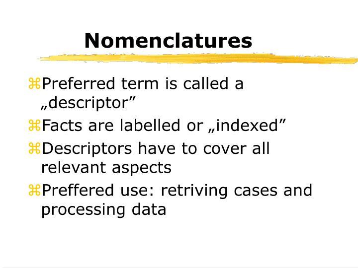 Nomenclatures