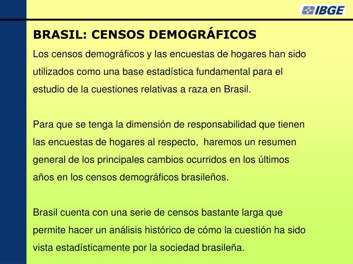 BRASIL: CENSOS DEMOGRÁFICOS