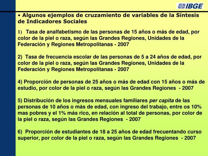 Algunos ejemplos de cruzamiento de variables de la Síntesis de Indicadores Sociales