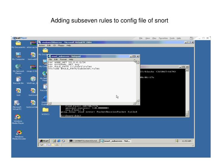 Adding subseven rules to config file of snort