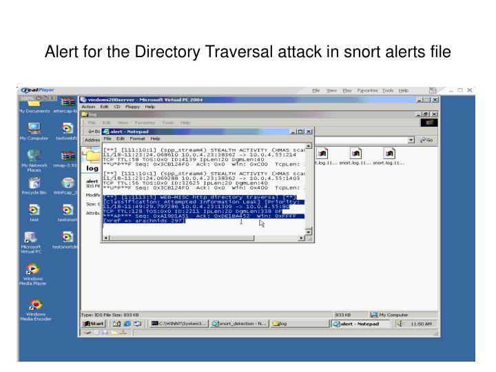 Alert for the Directory Traversal attack in snort alerts file