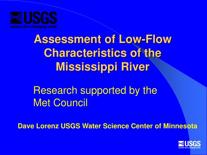 Assessment of low flow characteristics of the mississippi river