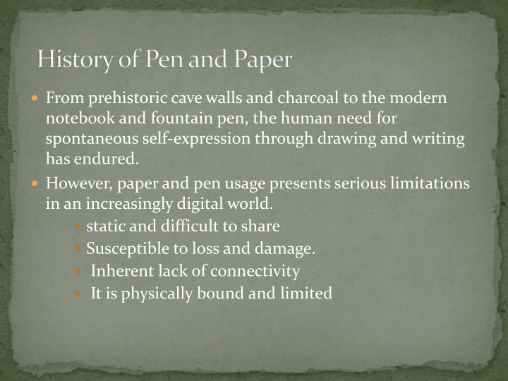 History of pen and paper