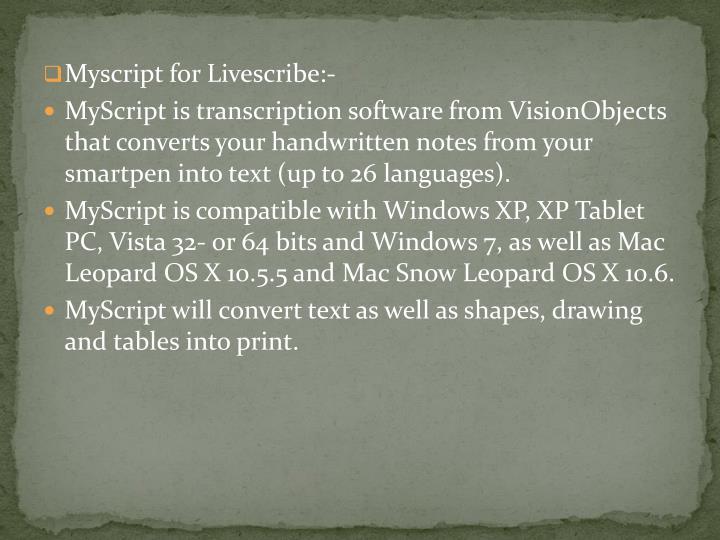 Myscript for Livescribe:-