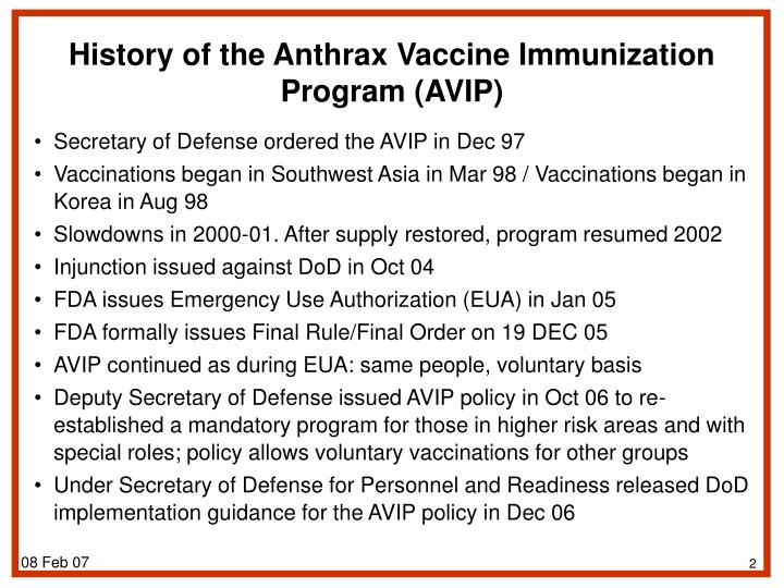 History of the Anthrax Vaccine Immunization Program (AVIP)