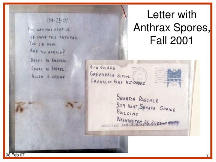 Letter with Anthrax Spores,