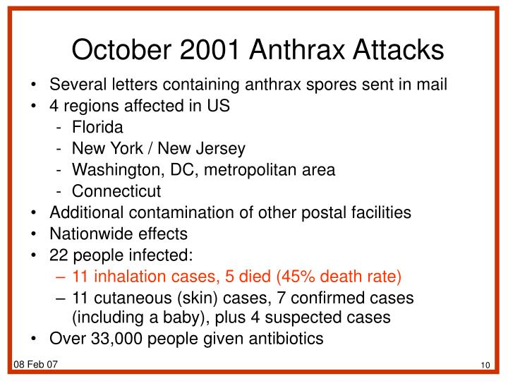 Several letters containing anthrax spores sent in mail