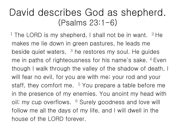 David describes God as shepherd.