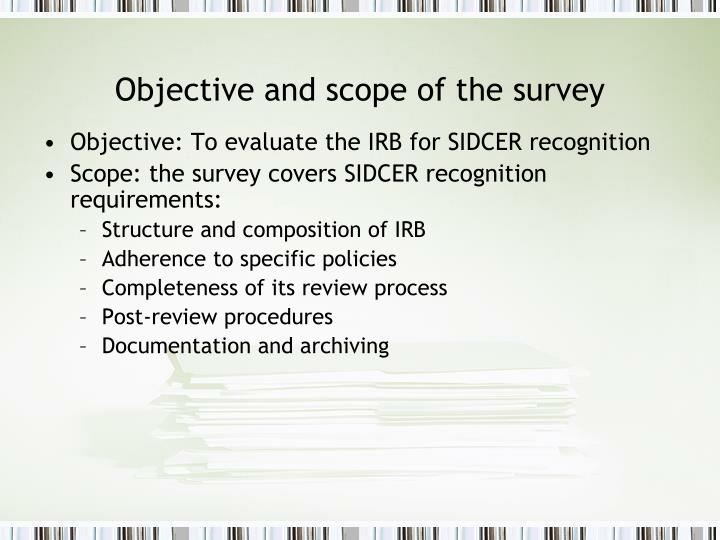 Objective and scope of the survey