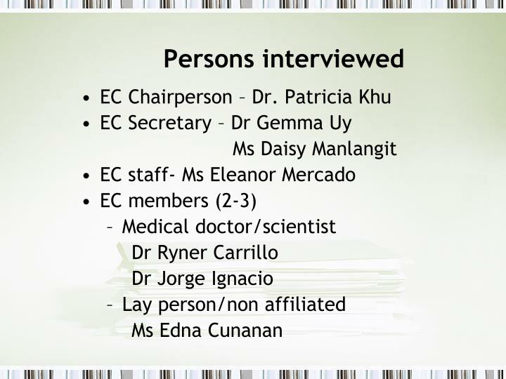 Persons interviewed