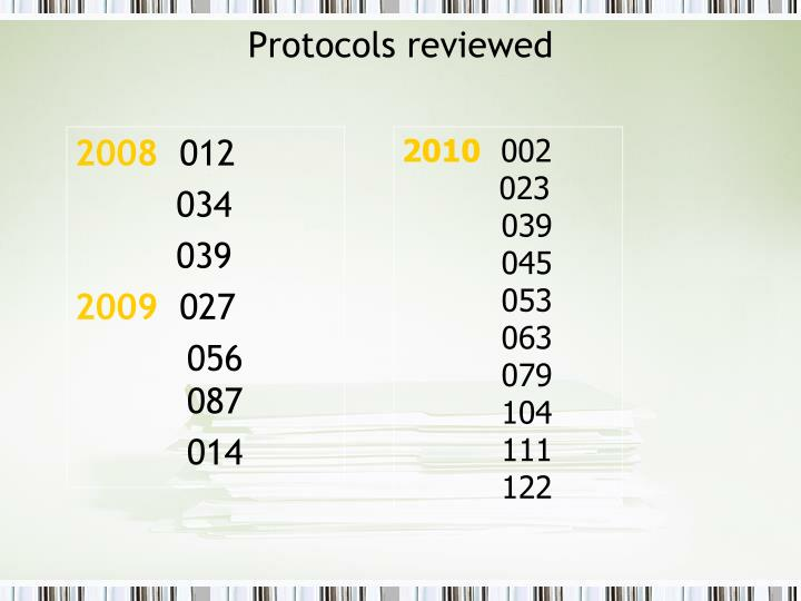 Protocols reviewed
