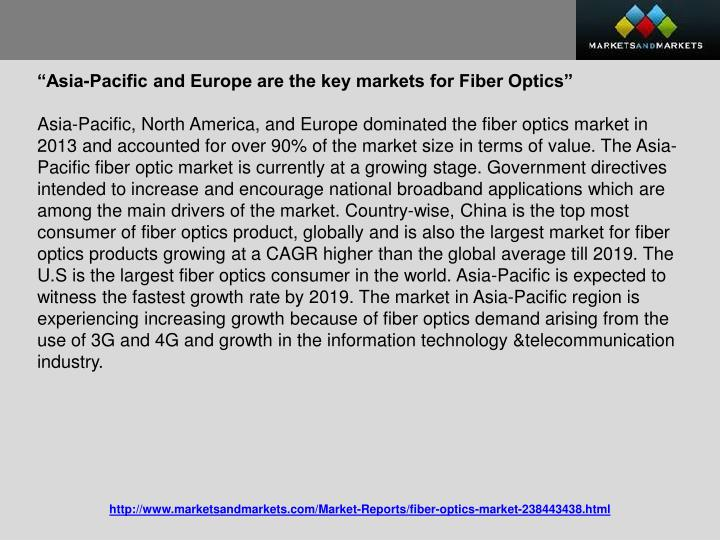 """Asia-Pacific and Europe are the key markets for Fiber Optics"""
