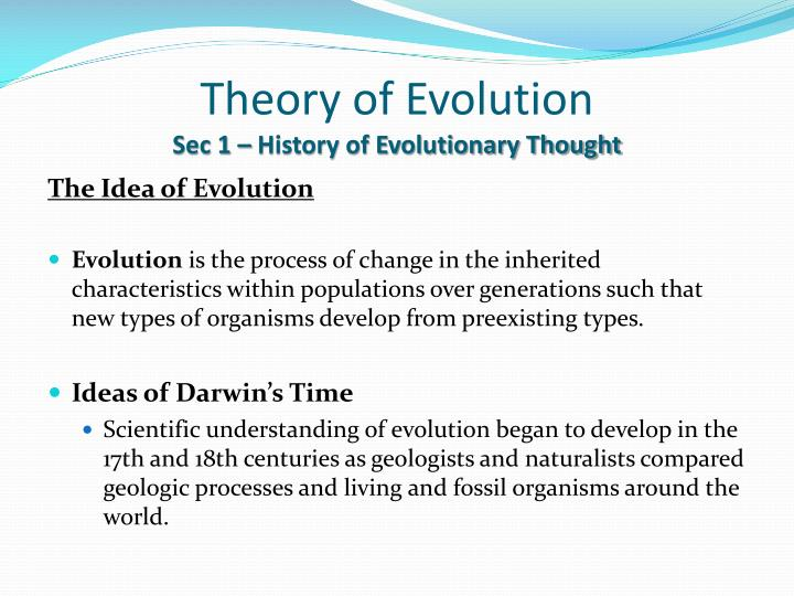 Theory of evolution sec 1 history of evolutionary thought1