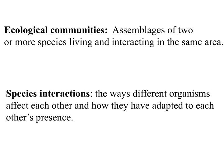 Ecological communities: