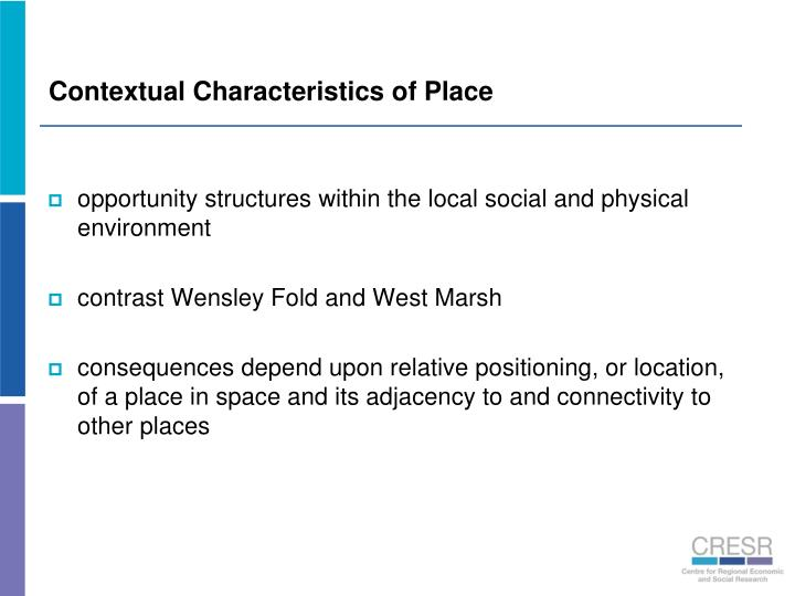 Contextual Characteristics of Place