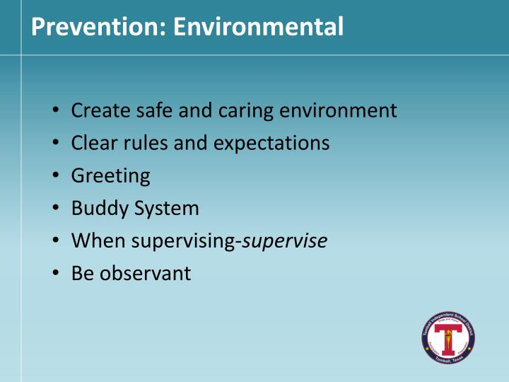 Prevention: Environmental