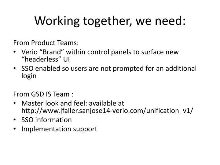 Working together, we need: