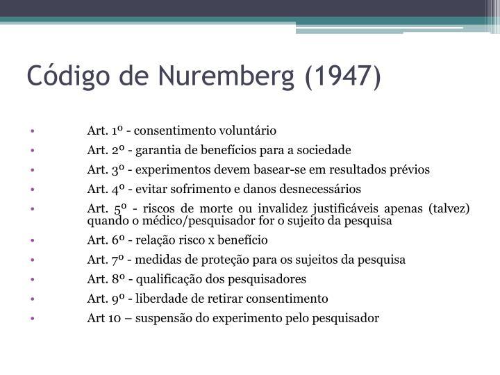 Código de Nuremberg (1947)