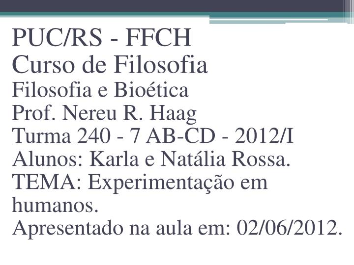PUC/RS - FFCH