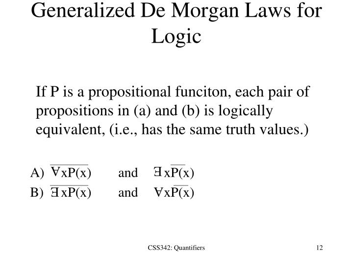 Generalized De Morgan Laws for Logic