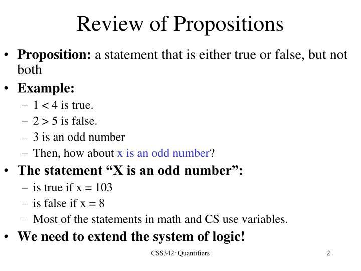 Review of propositions