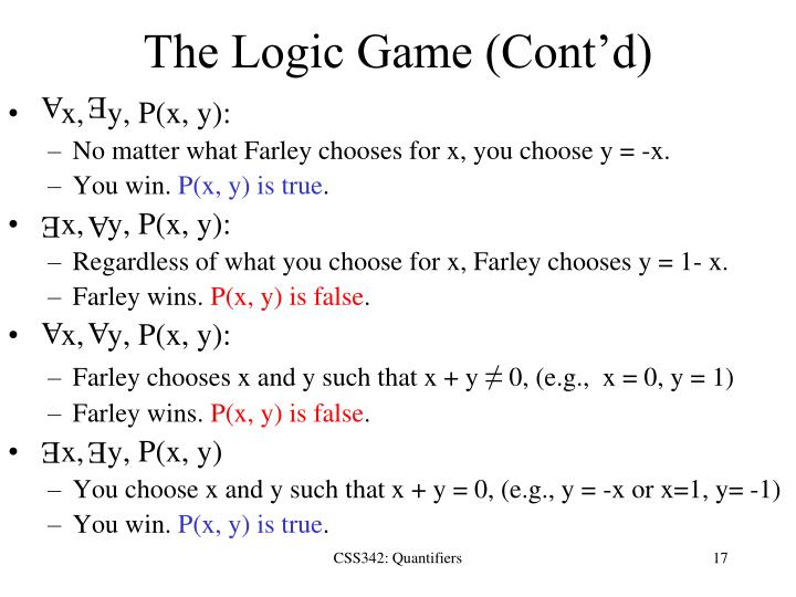 The Logic Game (Cont'd)