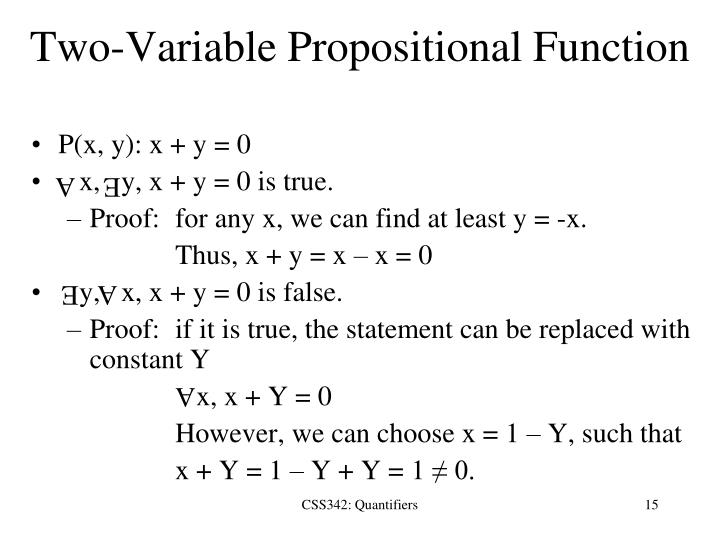 Two-Variable Propositional Function