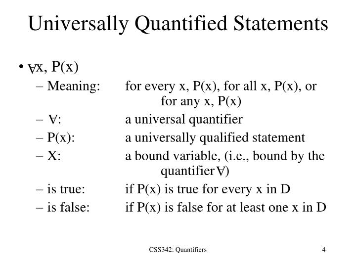Universally Quantified Statements