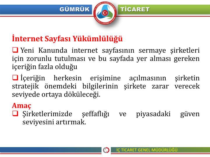 İnternet Sayfası Yükümlülüğü