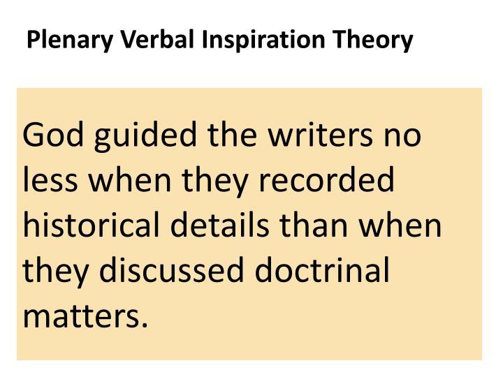 Plenary Verbal Inspiration Theory