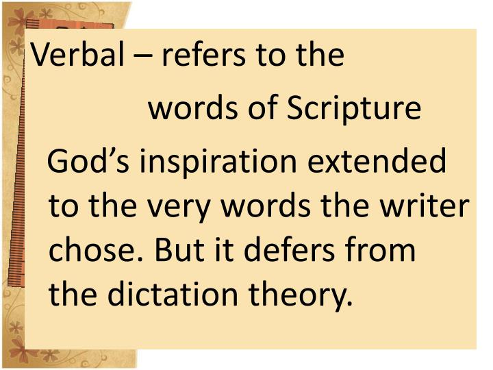 Verbal – refers to the