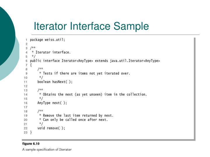 Iterator Interface Sample