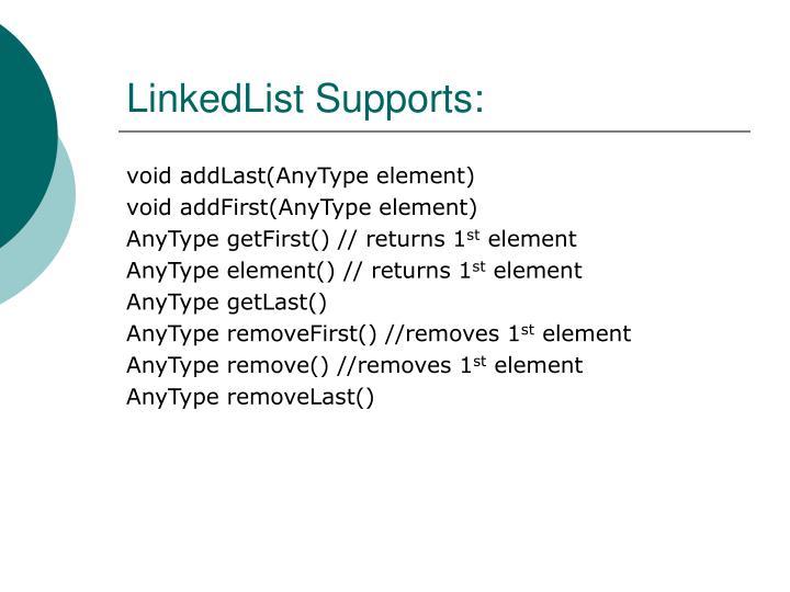 LinkedList Supports: