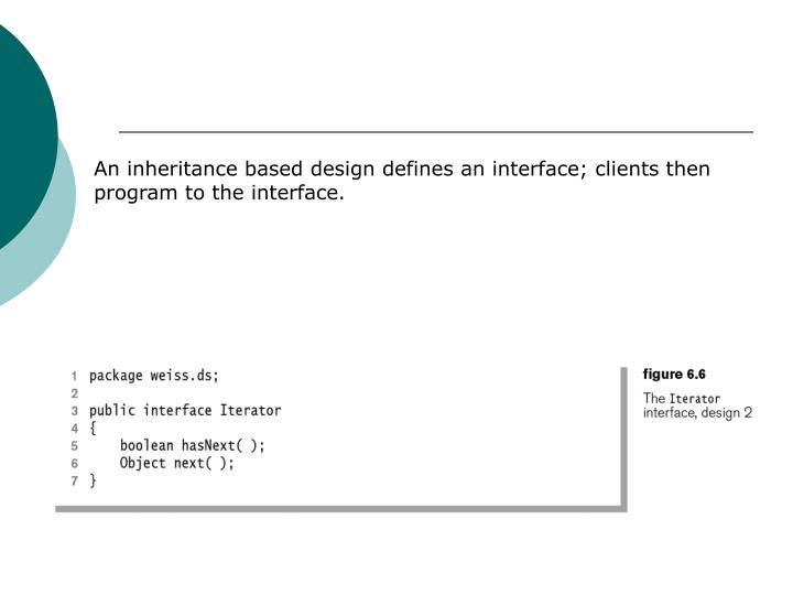 An inheritance based design defines an interface; clients then program to the interface.