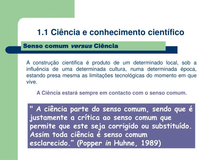 1.1 Ciência e conhecimento científico