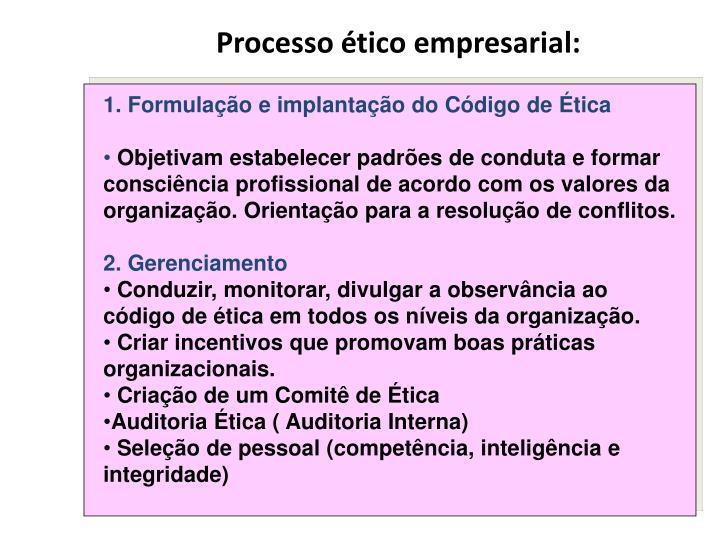 Processo ético empresarial: