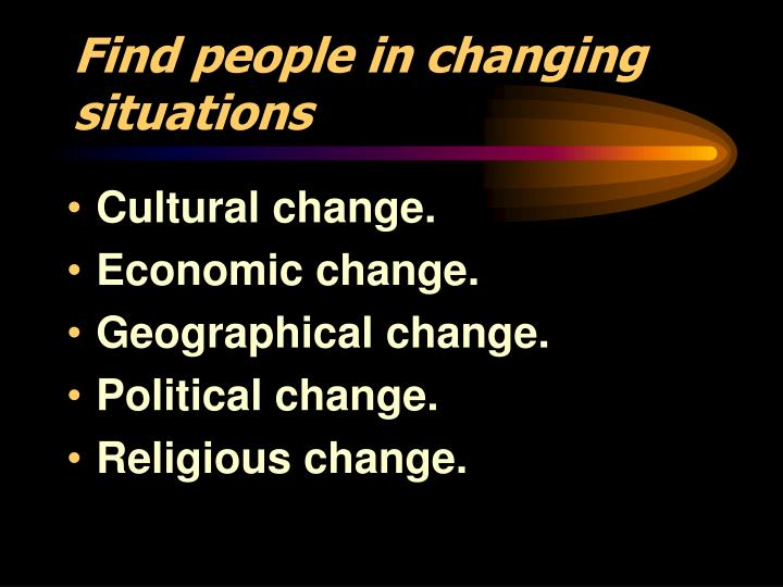 Find people in changing situations
