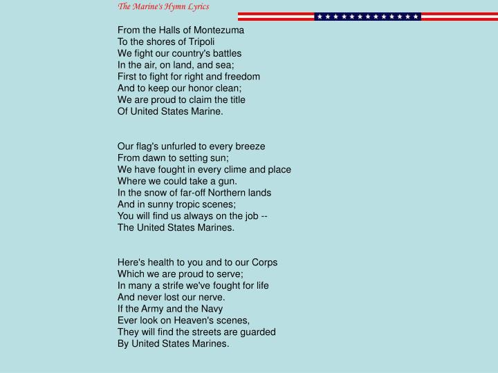 The Marine's Hymn Lyrics
