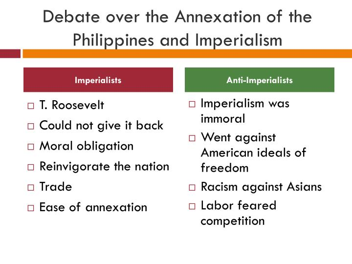 an analysis of the debate for american annexation of the philippines Albert j beveridge : in support of an american empire source the philippines are ours forever, territory belonging to the united states, as the constitution calls them and just beyond the american faith in our mission and our might a dream dissolved, and the glory of our.