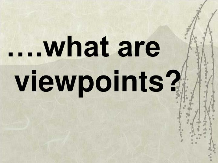 ….what are viewpoints?