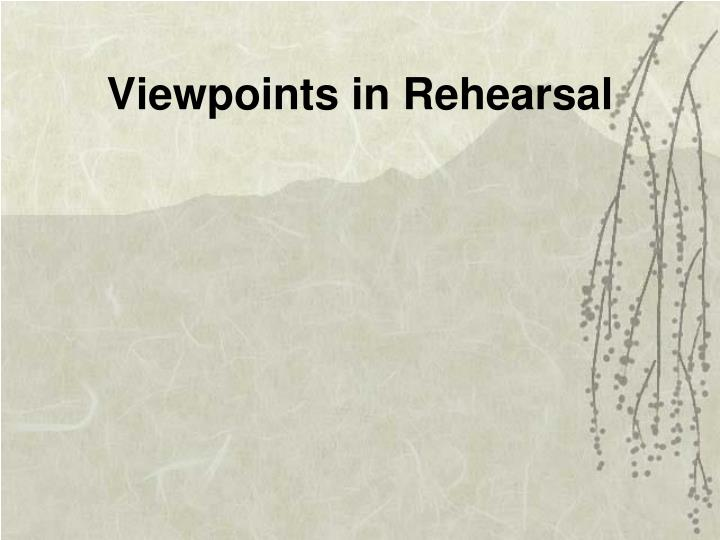 Viewpoints in Rehearsal