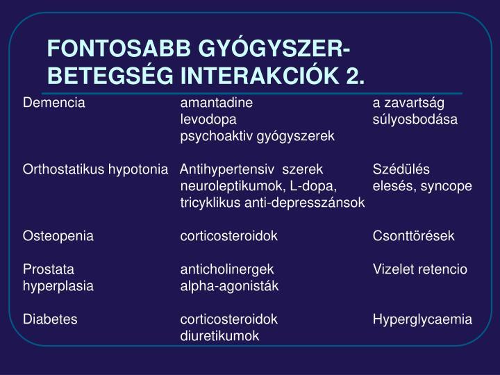 FONTOSABB GYÓGYSZER-BETEGSÉG INTERAKCIÓK 2.