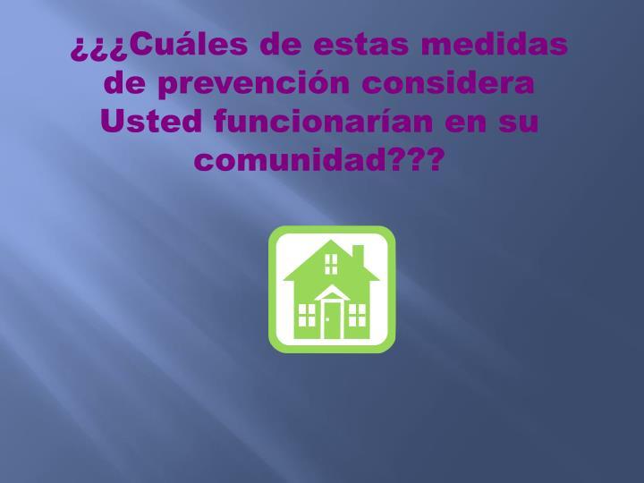 ¿¿¿Cuáles de estas medidas de prevención considera Usted funcionarían en su comunidad???