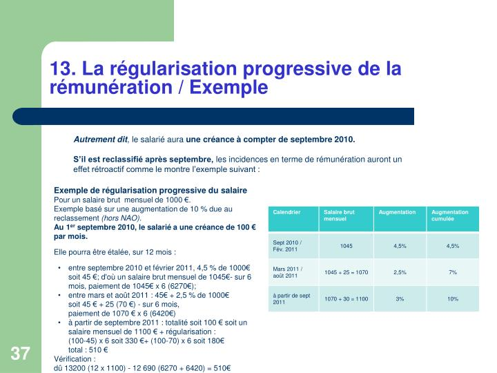 13. La régularisation progressive de la rémunération / Exemple