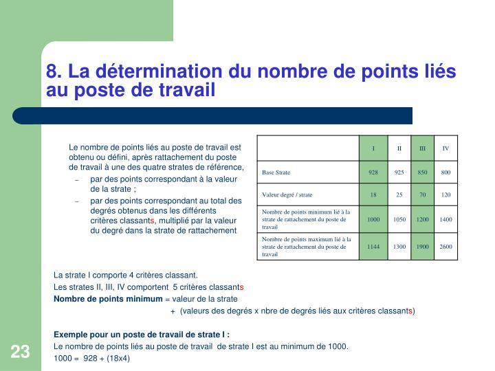 8. La détermination du nombre de points liés au poste de travail