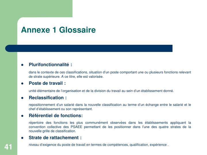 Annexe 1 Glossaire