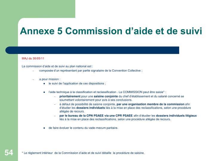 Annexe 5 Commission d'aide et de suivi