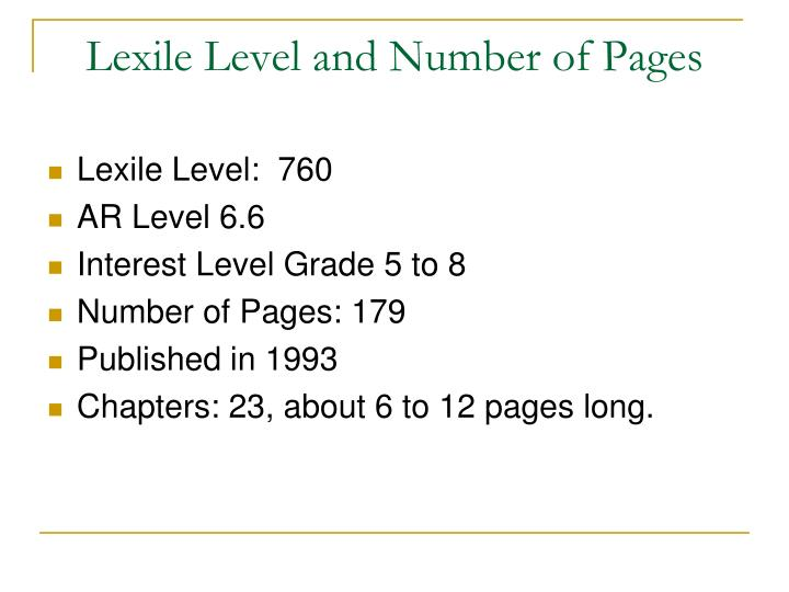 Lexile level and number of pages